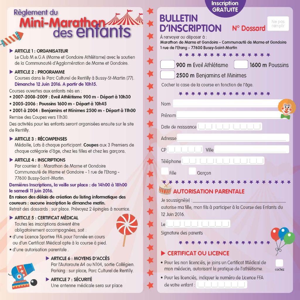 Bulletin d'inscription du mini Marathon de Marne et Gondoire